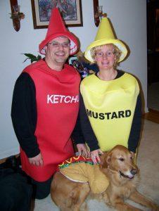 Cooper hotdog with Mom & Dad condiments!